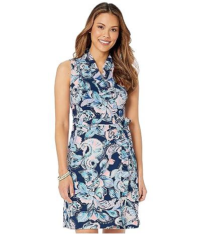 Lilly Pulitzer Romee Wrap Dress (High Tide Navy Holy Flockamole) Women