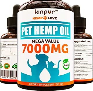 Natural Hemp Oil for Dogs & Cats - 7000MG - Premium Hemp Extract - Anxiety Relief for Dogs - Grown & Made in USA - Omega 3, 6 & 9 - Supports Hip & Joint