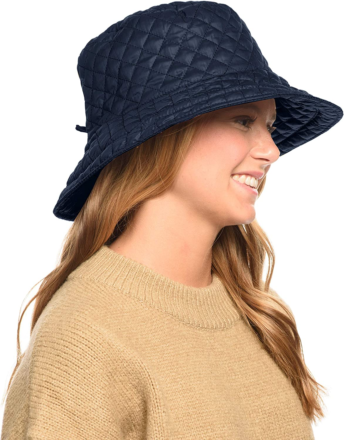 Foldable Water Repellent Quilted Rain Hat w/Adjustable Drawstring, Bucket Cap