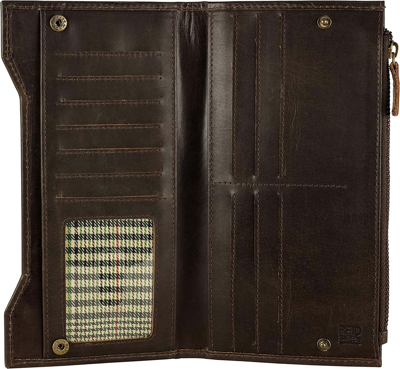 Genuine Leather RFID Blocking Long – Wallet Bifold Vintage Regular store Max 50% OFF