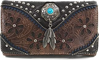 Justin West Turquoise Stone Concho Feathers Western Tooled Studs Concealed Carry Handbag Purse
