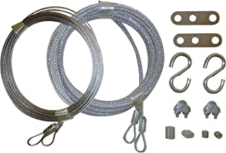 Garage Door Cable Replacement Kit - Two 3/32 inch x 14 foot Long and Two 1/8 inch x 13 foot long Galvanized Aircraft Cables. Complete with 4 Cables and 10 Fasteners to Fix Your Overhead Sectional Door
