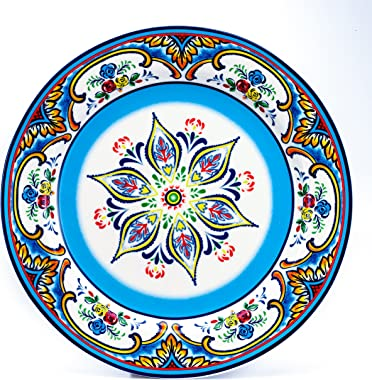 Euro Ceramica Zanzibar Collection 16 Piece Dinnerware Set Kitchen and Dining, Service for 4, Spanish Floral Design, Multicolo
