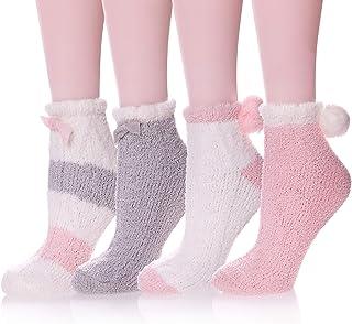 Calcetines de invierno con forro de sherpa para mujer Marrón Pink2 Talla única