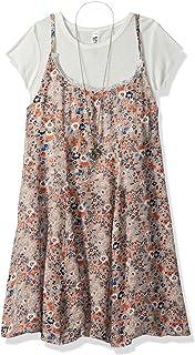 فستان بناتي كبير من قطعتين بدون أكمام مطبوع عليه Swing مع قطعة علوية قصيرة من Beautees