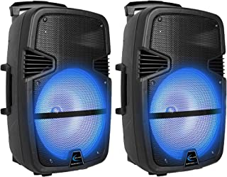 $239 » Sponsored Ad - (Qty 2) Technical Pro 3000 Watts Rechargeable 15 Inch Bluetooth LED Portable PA Speaker, with Built-in LCD ...