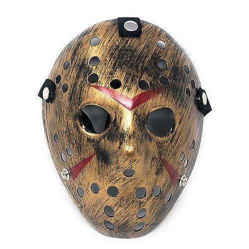Ultra oro color disfraces de fantasía de hockey máscaras adultos PVC calidad máscara con elástico correa cara máscara Fancy Halloween Costumeplay