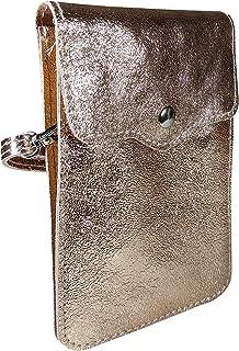 SKUTARI® LEDER MAIDA BRILLANTE Damen Handytasche | aus hochwertigem Leder | Umhängetasche | Handy Mini-Tasche | Geldbörse...