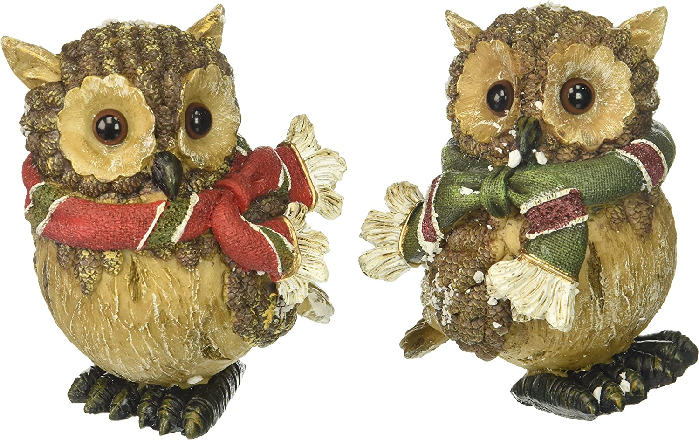 Set of 2 Christmas Snow Owl Figurines Adorable Holiday Home Decor