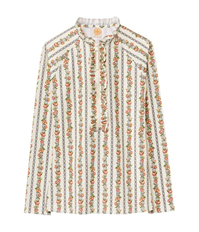 Tory Burch Swimwear Printed Ruffle Surf Shirt (Gemini Link Rose) Women
