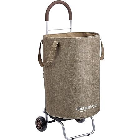 Amazon Basics Panier à linge roulant convertible en chariot, Hauteur 91 centimètres poignée incluse, Marron