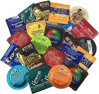 Ultimate Grab Bag with Silver Lunamax Pocket Case, Ultimate Sampler Pack of Latex Condoms-24 Count