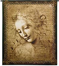 "Head of a Woman by Leonardo da Vinci | Woven Tapestry Wall Art Hanging | Renaissance Oil Painting Masterpiece ""La Scapigliata"" | 100% Cotton USA Size 53x45"