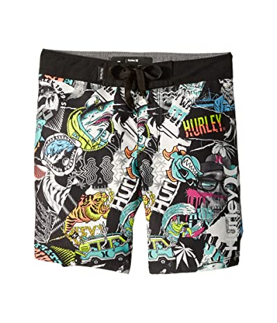 Hurley Kids Sticker Pull-On Boardshorts (Toddler/Little Kids) (Black/White) Boy