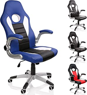 TRESKO® Silla de oficina Racing Gaming giratoria, escritorio ordenador, 4 colores diferentes, reposabrazos acolchados y regulables, mecanismo de inclinación basculante (Azul/Blanco/Negro)