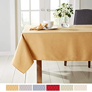 "Town & Country Living McKenna Tablecloth 60""x102"" Rectangle, Stain Resistant Machine Washable Polyester, Solid Yellow"