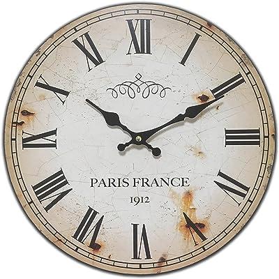 HDC International Round Off White Antique Look Paris France Decorative Clock 13 x 13 inches Quartz