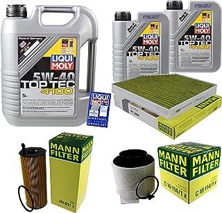 Filter Set Inspektionspaket 7 Liter Liqui Moly Motoröl Top Tec 4100 5W 40 MANN FILTER Innenraumfilter Luftfilter Ölfilter
