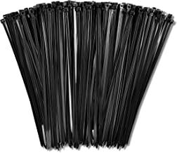 """8"""" Zip Cable Ties (1000 Pack), Up To 50lbs Tensile Strength - Heavy Duty Black, Self-Locking Premium Nylon Cable Wire Ties..."""