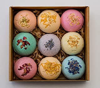 Pangolin House 9 Organic and Natural Bath Bomb Gift Set. Australian Handmade Fizzies for Bubble Bath. Rich in Essential Oi...