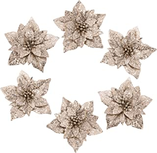 iPEGTOP 6 Pcs Christmas Poinsettia Glitter Artificial Christmas Flowers for Garland Wreath Christmas Tree Ornaments Wedding Decorations, Gold