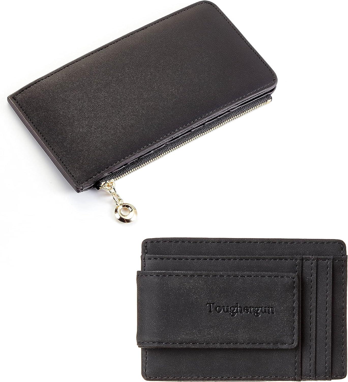 Toughergun Women's RFID Blocking Genuine Leather Credit Card Wallet& Men's Money Clip