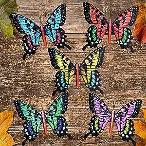 Metal Butterfly Garden Wall Decor, Butterflies Wall Sculpture Hanging Decor for Home, Bedroom, Living Room, Office, Garden