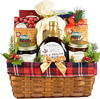 Gift Basket Village A Down Home Breakfast, Holiday Gift Basket in Wooden Box with Buttermilk Pancake Mix, Gourmet Jams and Toppings and More, 8 Pounds