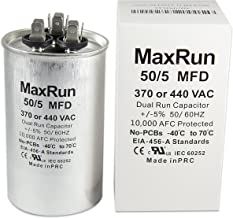 MAXRUN 50+5 MFD uf 370 or 440 Volt VAC Round Motor Dual Run Capacitor for AC Air Conditioner Condenser - 50/5 uf MFD 440V Straight Cool or Heat Pump - Will Run AC Motor and Fan - 5 Year Warranty