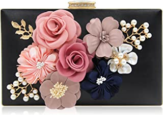 Milisente Evening Bag for Women, Flower Wedding Evening Clutch Purse Bride Floral Clutch Bag