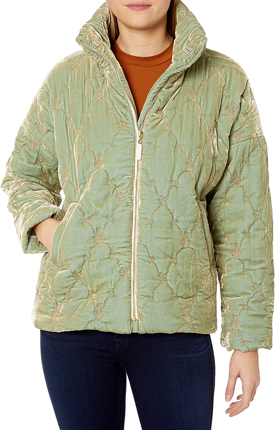 Johnny Was Women's Silk Blend Blue At the price Super beauty product restock quality top! Jacket Velvet Puffer