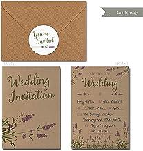 Personalised kraft day//evening wedding invitations STYLISH VINTAGE ARTWORK TYPOG