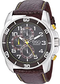 Men's Stainless Steel Chronograph Watch w/Leather Strap
