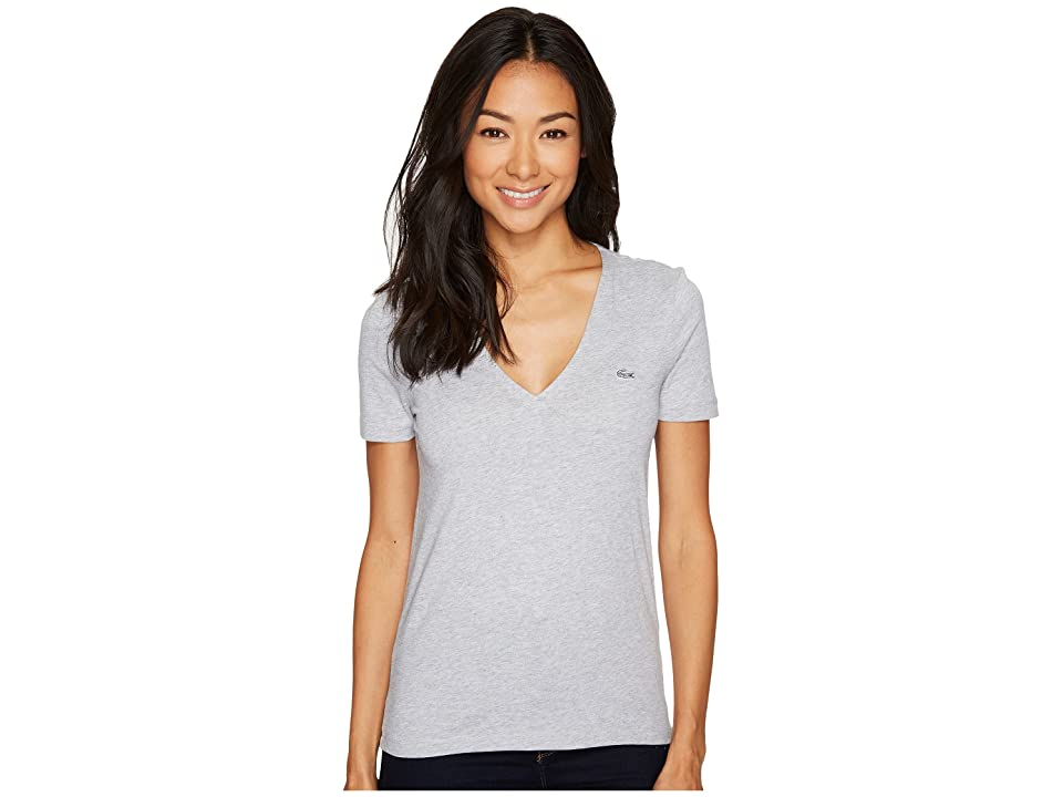 Lacoste Short Sleeve Solid V-Neck Jersey Tee (Silver Chine) Women