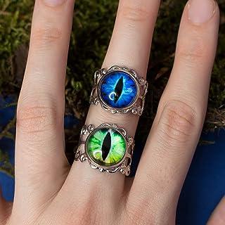 Occhio di dragon blu o verde, Anello regolabile base argentata con occhio di drago, rettile, gatto in resina