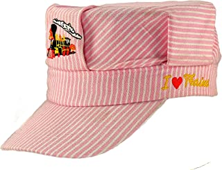 Pinnacle Awards The Real Deal Girls Red Steam Engine Embroidered Train Engineers Hat with I Love Trains