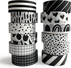 Washi Tape Set, 12 Rolls of 15 mm Wide (7 m Long), Cute Decorative Black & White Tape for Scrapbooking, Bullet Journals, P...