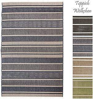 Outdoor Teppich beige blau 120x180 cm Sisal Optik Kunststoff Balkon wetterfest