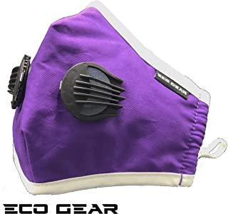 ECO-GEAR Anti Pollution Face Mask N95 Particulate Respirator | Dust, Smoke, Exhaust Gas, Fumes and Allergens Protection | Adjustable Size Washable Face Mask with 3 Replaceable Air Filters (Purple)