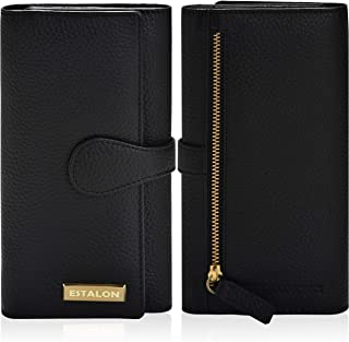 Leather Wallets for Women - RFID Blocking Checkbook Wallet with Credit Card Slots