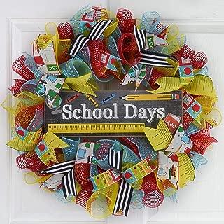Teacher Present | School Classroom Front Door Decor Gift Mesh Wreath | Red Blue Yellow Black