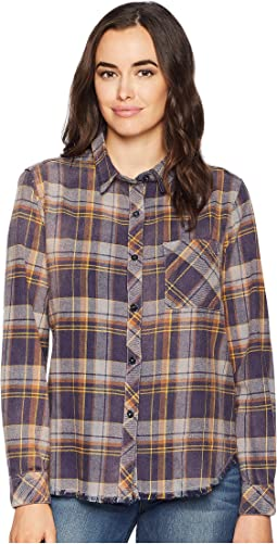 Dakota Plaid Vintage Washed One-Pocket Shirt with Fringe Hem Detail