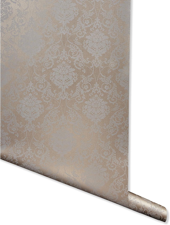 Rare Metallic Imprint Portland Mall Bronze Damask Wallpaper Double Rol for - Walls
