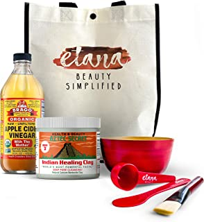 Aztec Clay Premium Mask Set by Etana Beauty � All-In-One Kit Includes 1lb Aztec Secret Indian Healing Clay, 16oz Bragg's Apple Cider Vinegar, Natural Bamboo Bowl, Stir, Scoop, Brush & Tote