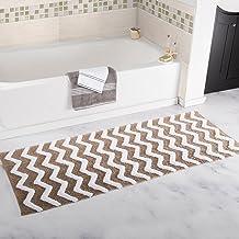"Lavish Home Chevron Bathroom Mat, Taupe, 24"" x 60"""