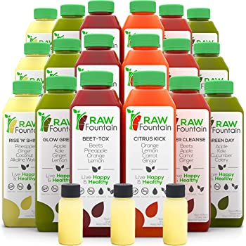 Raw Fountain 3 Day Juice Cleanse, All Natural Raw, Cold Pressed Fruit and Vegetable Juice, Detox Cleanse Weight Loss, 18 Bottles 16oz, 3 Ginger Shots