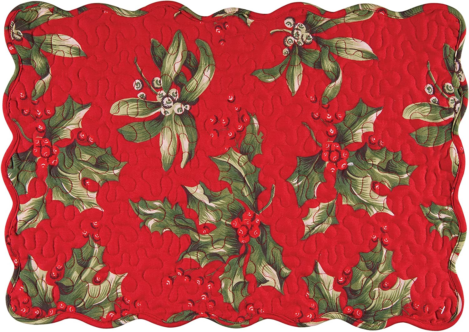 C&F Home Holly Bouquet Holiday Christmas Floral Botanical Red Green 13 x 19 Quilted Reversible Placemat Set of 6 Rectangular Placemat Set of 6 Red
