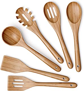 Greener Home Wooden Kitchen Utensils Set - 6 Piece Non-Stick Bamboo Wooden Utensils for Cooking - Easy to Clean Reusable W...
