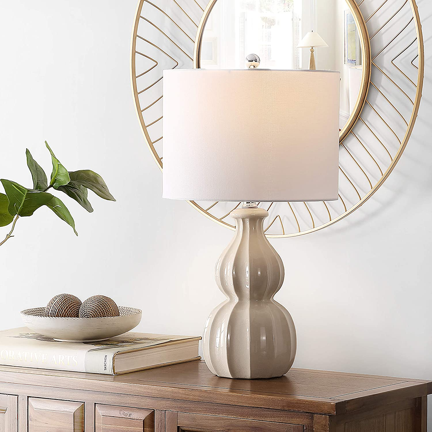 Safavieh OFFicial Lighting Collection Wade Ivory Some reservation Gourd 25- Ceramic Double