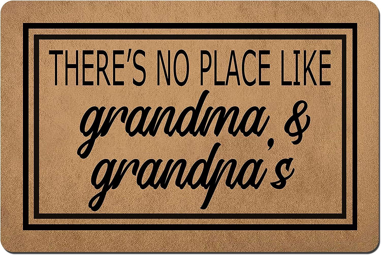Doormat Funny Front Door Mat- There's is No Place Like Grandma and Grandpa's Doormat Rubber Non Slip Backing Funny Doormat for Outdoor/Indoor Uses 23.6